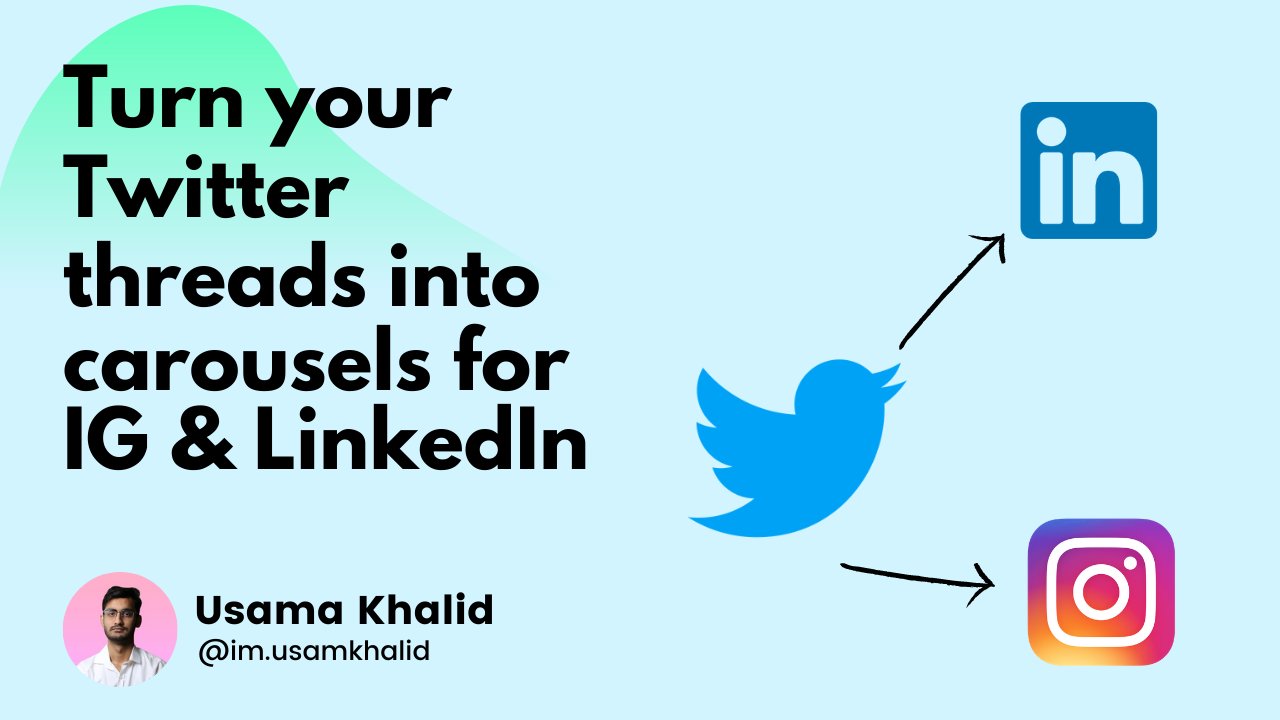 Turn your Twitter Threads into  Carousel Posts for IG & LinkedIn