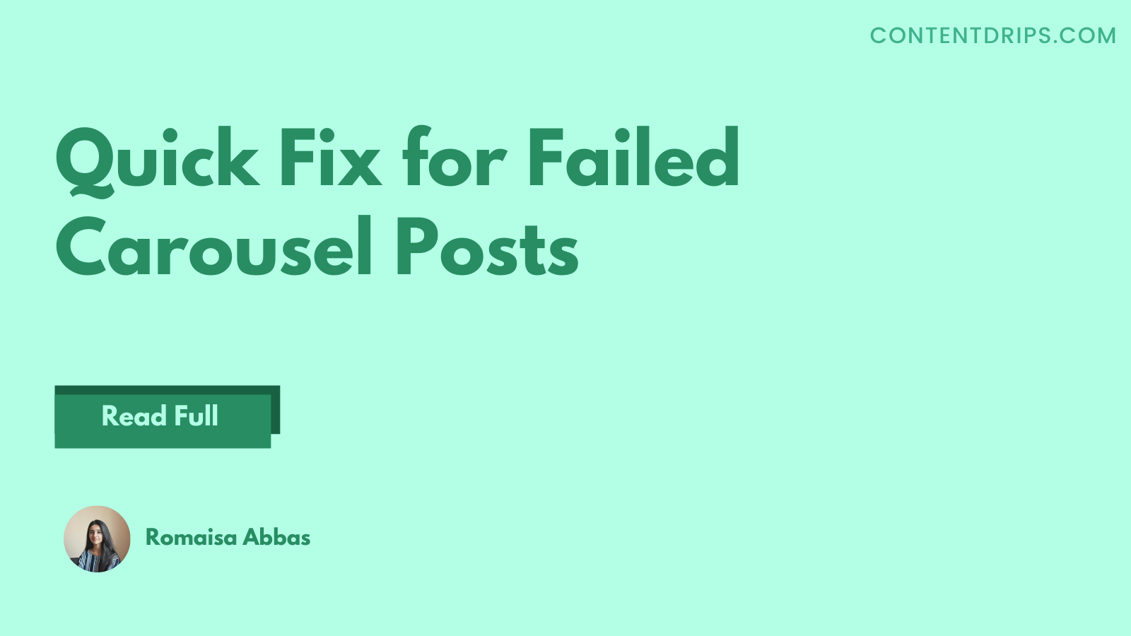 Quick Fix for Failed Carousel Posts